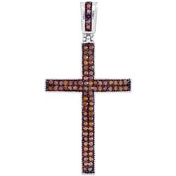 0.25 CTW Red Color Diamond Cross Pendant 10KT Rose Gold - REF-26X9Y
