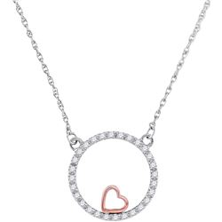 0.15 CTW Diamond Heart Circle Pendant 10KT Two-tone Gold - REF-16F4N