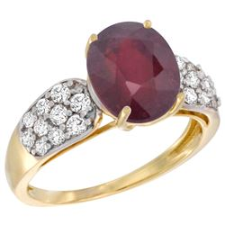 Natural 3.99 ctw ruby & Diamond Engagement Ring 14K Yellow Gold - REF-63N5G
