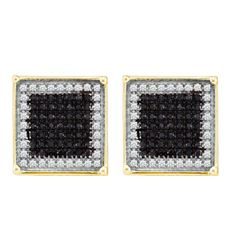 0.23 CTW Mens Black Color Diamond Square Cluster Earrings 10KT Yellow Gold - REF-14F9N