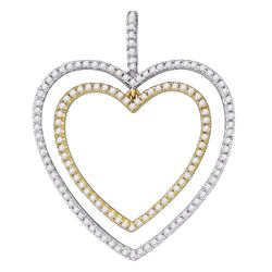 0.50 CTWDiamond 2-tone Double Heart Pendant 10KT White Gold - REF-31X4Y