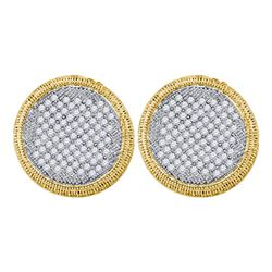 1.02 CTW Pave-set Diamond Circle Cluster Stud Earrings 10KT Yellow Gold - REF-59W9K