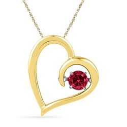 0.20 CTW Created Ruby Heart Love Pendant 10KT Yellow Gold - REF-13Y4X