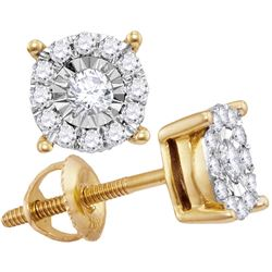 0.24 CTW Diamond Solitaire Cluster Stud Earrings 10KT Yellow Gold - REF-22M4H