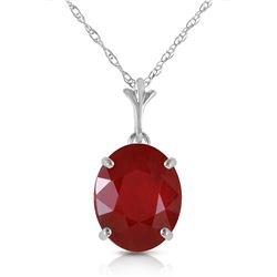 Genuine 3.5 ctw Ruby Necklace Jewelry 14KT White Gold - REF-38M6T