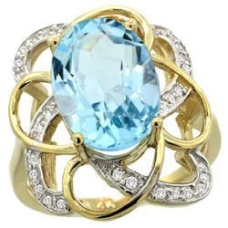 Natural 6.29 ctw blue-topaz & Diamond Engagement Ring 14K Yellow Gold - REF-51X6A