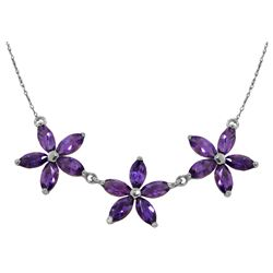 Genuine 4.2 ctw Amethyst Necklace Jewelry 14KT White Gold - REF-58R2P