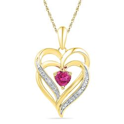 0.01 CTW Created Pink Sapphire Double Heart Pendant 10KT Yellow Gold - REF-19F4N