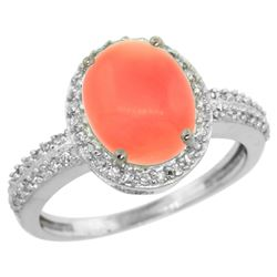 Natural 2.56 ctw Coral & Diamond Engagement Ring 14K White Gold - REF-39R9Z