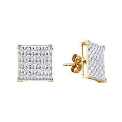 0.50 CTWDiamond Square Cluster Earrings 10KT Yellow Gold - REF-40F4N