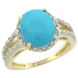 Natural 3.47 ctw Turquoise & Diamond Engagement Ring 10K Yellow Gold - REF-44H2W