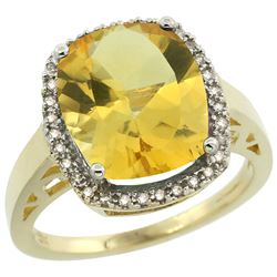Natural 5.28 ctw Citrine & Diamond Engagement Ring 10K Yellow Gold - REF-41A2V