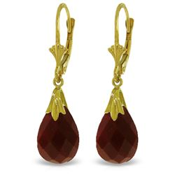 Genuine 8 ctw Ruby Earrings Jewelry 14KT Yellow Gold - REF-34P3H