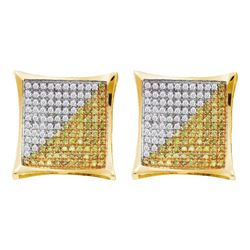 0.23 CTW Mens Yellow Color Diamond Square Cluster Earrings 10KT Yellow Gold - REF-13W4K