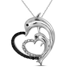 0.12 CTW Black Color Diamond Dolphin Heart Pendant 10KT White Gold - REF-10F5N