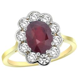 Natural 2.73 ctw Ruby & Diamond Engagement Ring 14K Yellow Gold - REF-104H9W