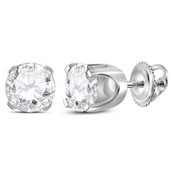 1.42 CTW Diamond Solitaire Stud Earrings 14KT White Gold - REF-322W4K