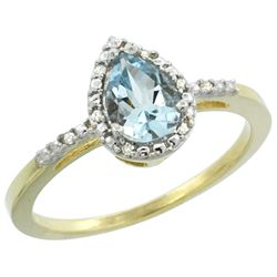 Natural 1.53 ctw aquamarine & Diamond Engagement Ring 14K Yellow Gold - REF-30H8W