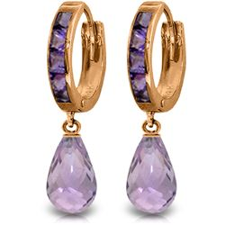 Genuine 5.35 ctw Amethyst Earrings Jewelry 14KT Rose Gold - REF-43F6Z