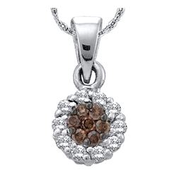 0.25 CTW Cognac-brown Color Flower Cluster Diamond Pendant 14k White Gold - REF-19F4N