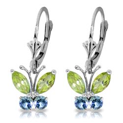 Genuine 1.24 ctw Peridot & Blue Topaz Earrings Jewelry 14KT White Gold - REF-38V2W