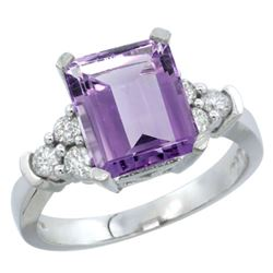 Natural 2.86 ctw amethyst & Diamond Engagement Ring 14K White Gold - REF-65K2R