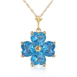 Genuine 3.8 ctw Blue Topaz Necklace Jewelry 14KT Yellow Gold - REF-42F2Z