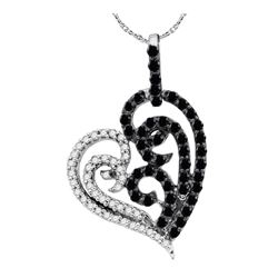 0.65 CTW Black Color Diamond Heart Pendant 10KT White Gold - REF-26H9M