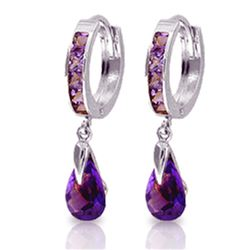 Genuine 3.3 ctw Amethyst Earrings Jewelry 14KT White Gold - REF-50V6W