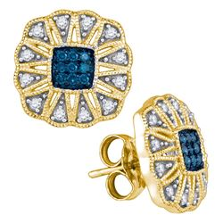 0.25 CTW Blue Color Diamond Square Starburst Cluster Earrings 10KT Yellow Gold - REF-26K9W