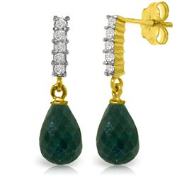 Genuine 6.75 ctw Green Sapphire Corundum & Diamond Earrings Jewelry 14KT Yellow Gold - REF-39A4K