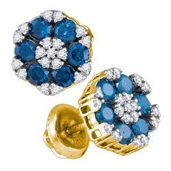 1 CTW Blue Color Diamond Cluster Screwback Earrings 10KT Yellow Gold - REF-44H9M