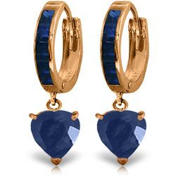 Genuine 3.95 ctw Sapphire Earrings Jewelry 14KT Rose Gold - REF-68V9W