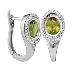 1.99 CTW Oval Natural Peridot Diamond Hoop Earrings 14KT White Gold - REF-87W2K