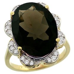 Natural 13.83 ctw smoky-topaz & Diamond Engagement Ring 14K Yellow Gold - REF-124A4V