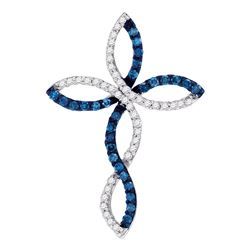 0.33 CTW Blue Color Diamond Cross Crucifix Pendant 10KT White Gold - REF-25F4N