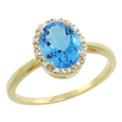 Natural 1.22 ctw Swiss-blue-topaz & Diamond Engagement Ring 10K Yellow Gold - REF-20Z3Y