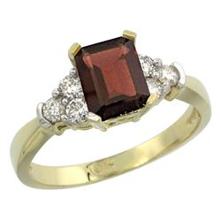 Natural 1.48 ctw garnet & Diamond Engagement Ring 10K Yellow Gold - REF-43G3M