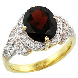 Natural 2.92 ctw garnet & Diamond Engagement Ring 14K Yellow Gold - REF-105V5F