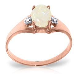 Genuine 0.46 ctw Opal & Diamond Ring Jewelry 14KT Rose Gold - REF-22P3H