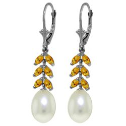 Genuine 9.2 ctw Pearl & Citrine Earrings Jewelry 14KT White Gold - REF-45Y8F
