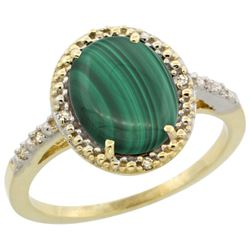 Natural 2.77 ctw Malachite & Diamond Engagement Ring 14K Yellow Gold - REF-32Y4X
