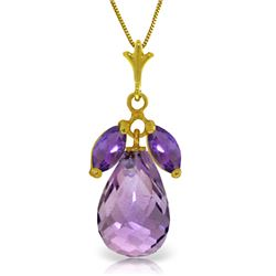Genuine 7.2 ctw Amethyst Necklace Jewelry 14KT Yellow Gold - REF-30H5X