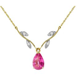 Genuine 1.52 ctw Pink Topaz & Diamond Necklace Jewelry 14KT Yellow Gold - REF-31R2P