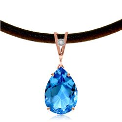 Genuine 6.01 ctw Blue Topaz & Diamond Necklace Jewelry 14KT Rose Gold - REF-32N3R