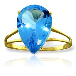 Genuine 5 ctw Blue Topaz Ring Jewelry 14KT Yellow Gold - REF-34V3W