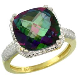 Natural 5.96 ctw Mystic-topaz & Diamond Engagement Ring 14K Yellow Gold - REF-42G3M