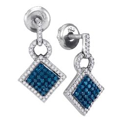 0.50 CTWBlue Color Diamond Square Dangle Earrings 10KT White Gold - REF-26M9H