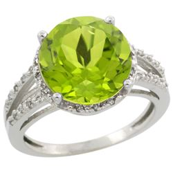 Natural 5.19 ctw Peridot & Diamond Engagement Ring 14K White Gold - REF-52V7F