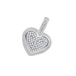 0.15 CTW Diamond Heart Love Milgrain Pendant 10KT White Gold - REF-18Y2X